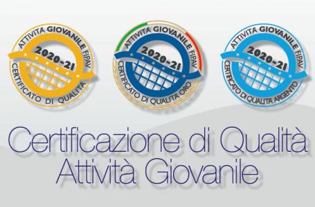 8° Bando per la Certificazione di Qualità Settore Giovanile Fipav 2020-2021